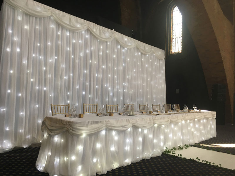 White Starlight Top Table Skirt Hire Myweddinghire Com
