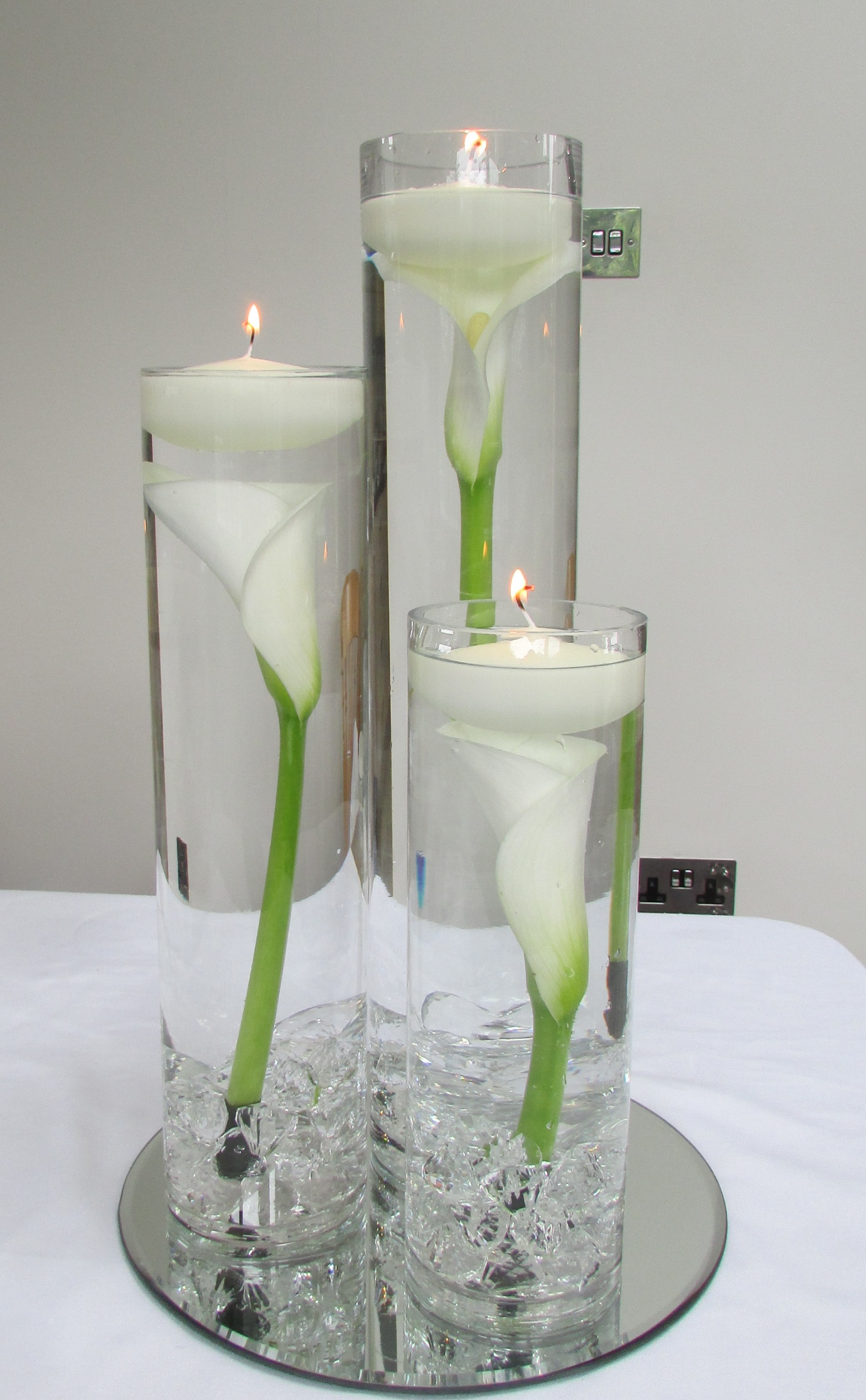 Trio Of Cylinder Candle Vase Centrepieces Hire