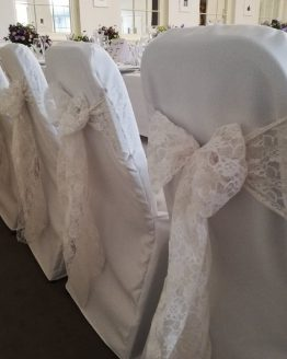 White lace chair sashes