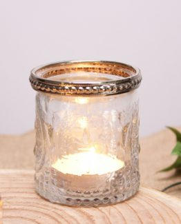 7cm Tea light holder with metal rim