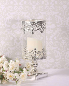 Glass Candle Hold Silver Stem 25cm