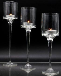 Trio Tea Light Holders On Stem Hire