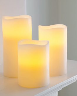 Trio Of Real Wax Pillar Battery Candle Hire